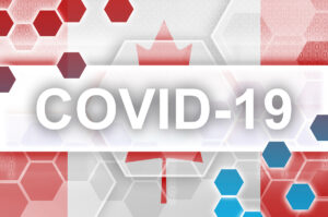Canada flag and futuristic digital abstract composition with Covid-19 inscription. Coronavirus outbreak concept